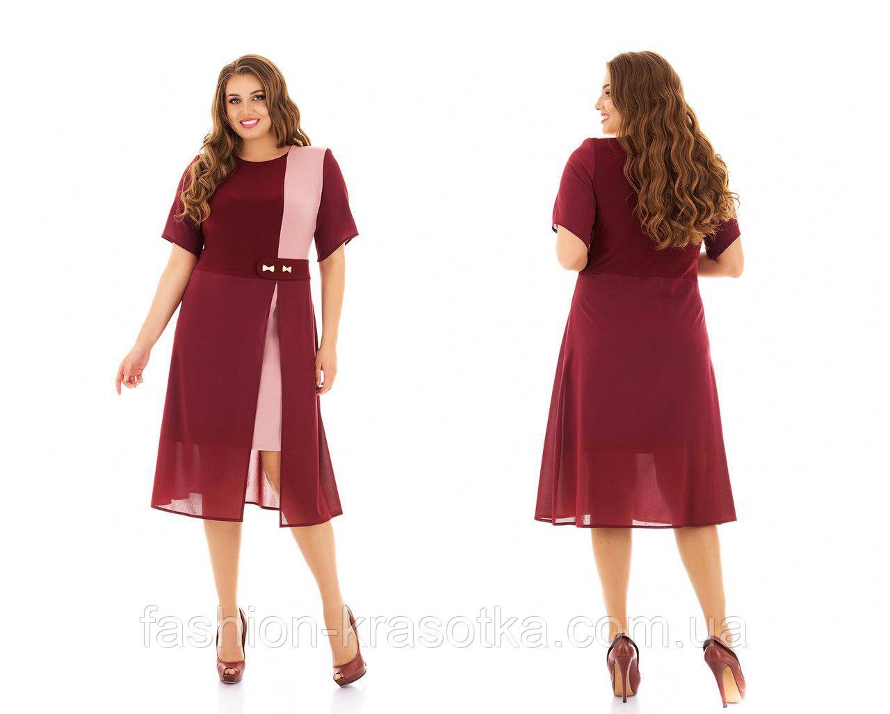 Платье масло трикотаж и креп шифон больших размеров