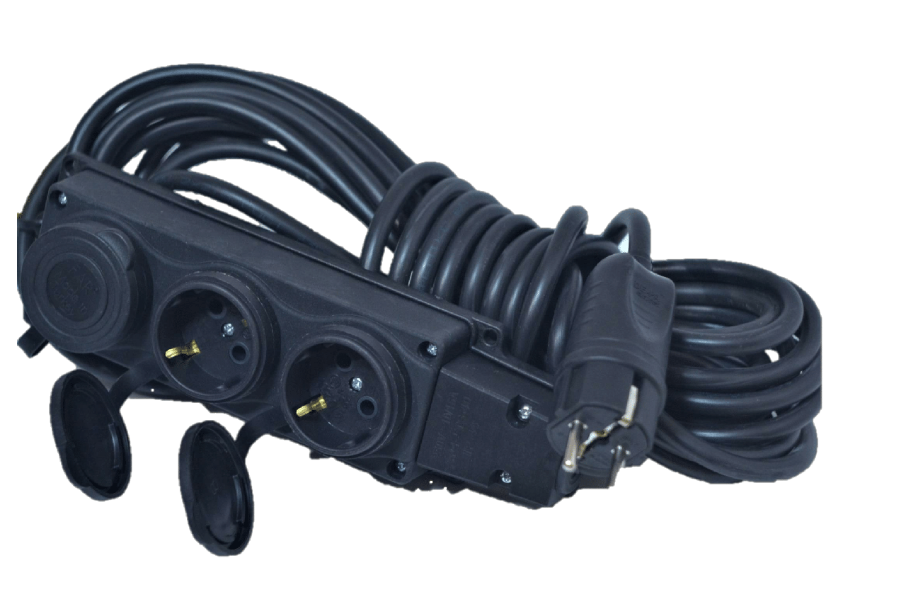 Электрический удлинитель(КОЛОДКА-Вилка) з з/к 5м (ПВС 3*1,5)ТМ ФЕНИКС