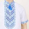 Вышиванка мужская короткий рукав Николай с синим орнаментом, фото 2