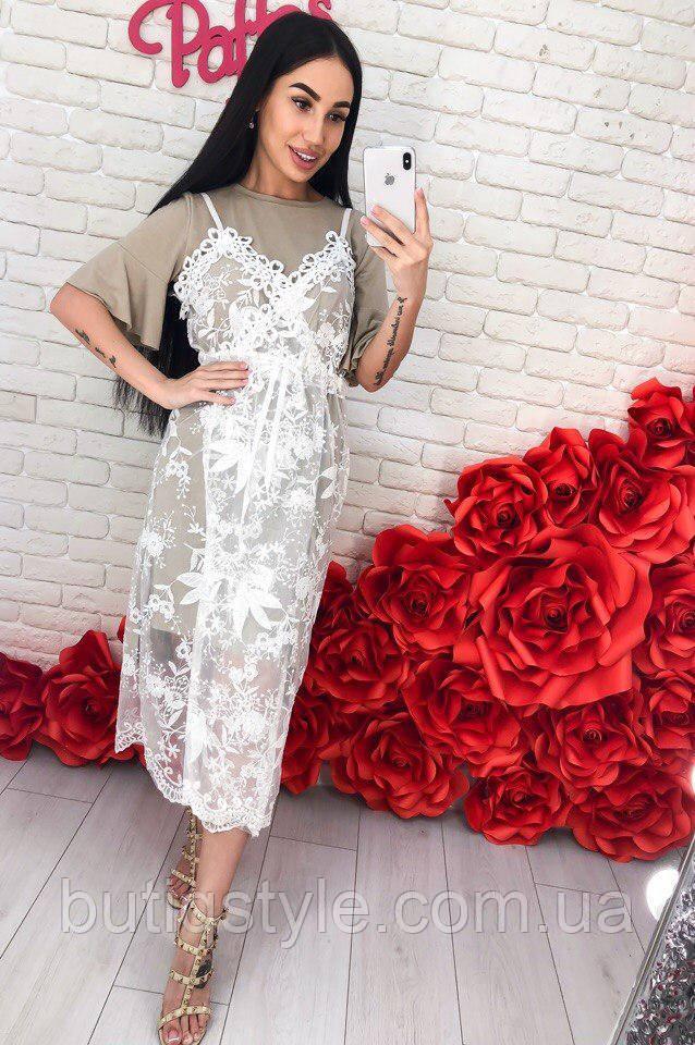 Женское платье двойка трикотаж + сарафан набивной фатин белый, черный