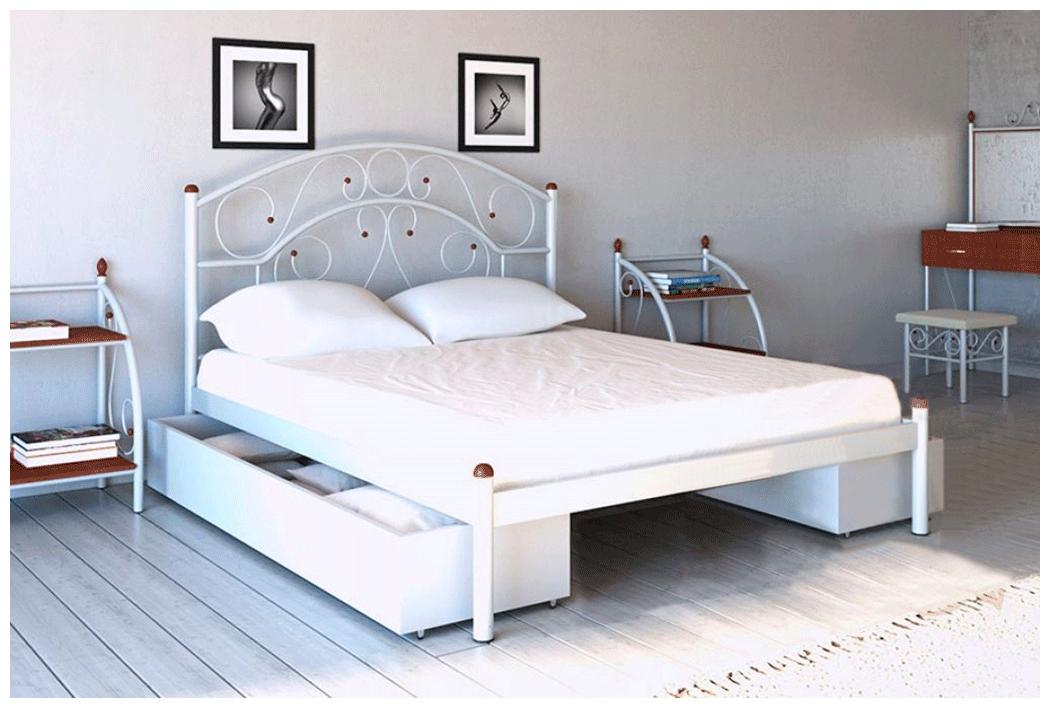 Кровать Скарлет белая 180*190 с двумя ящиками (Металл дизайн)