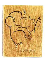 """Валентинка из дерева """"Романтический поцелуй всех любимых"""", валентинка любимым с искренними пожеланиями от вас"""
