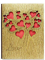 """Открытка деревянная """"Дерево из сердец"""""""