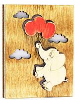 """Деревянная открытка """"Слоник на шаре"""""""