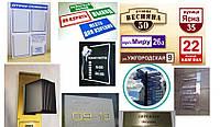 Информационные стенды, таблички, вывески (вывески,таблички,режимы работы,уголки покупателя)