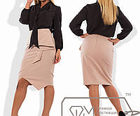 Костюм-двойка - блузка из бенгалина с воротником-аскот и асимметричная юбка-карандаш миди из креп-костюмки с баской X7043