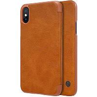 "Кожаный чехол-книжка Nillkin Qin Series для iPhone  X (5.8"") brown"