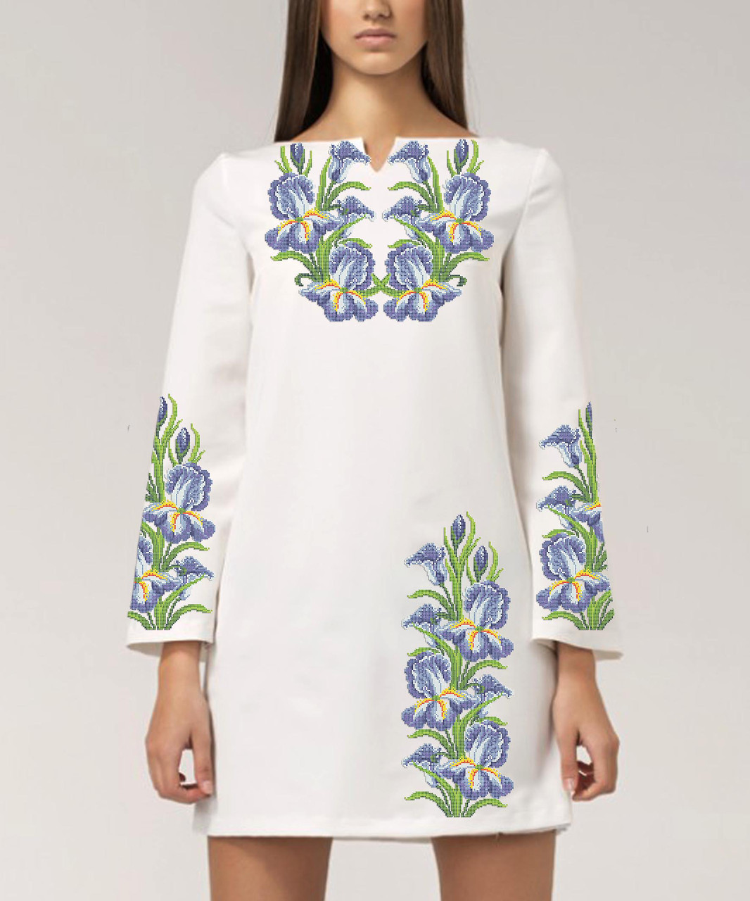Заготовка женского платья для вышивки / вышивания бисером / ниткой «Іриси 03»