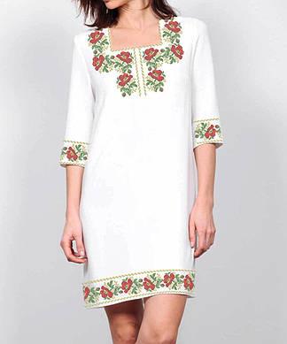 Заготовка женского платья для вышивки / вышивания бисером / ниткой «Маки в орнаменті 105»