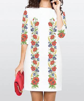 Заготовка женского платья для вышивки / вышивания бисером / ниткой «Маки та волошки 115»