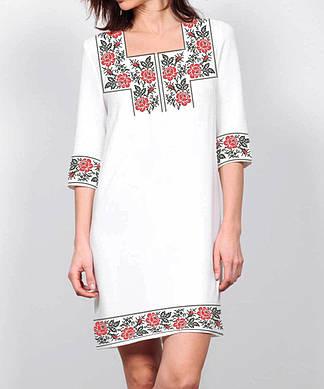 Заготовка женского платья для вышивки / вышивания бисером / ниткой «Троянди монохром 99 Ч»