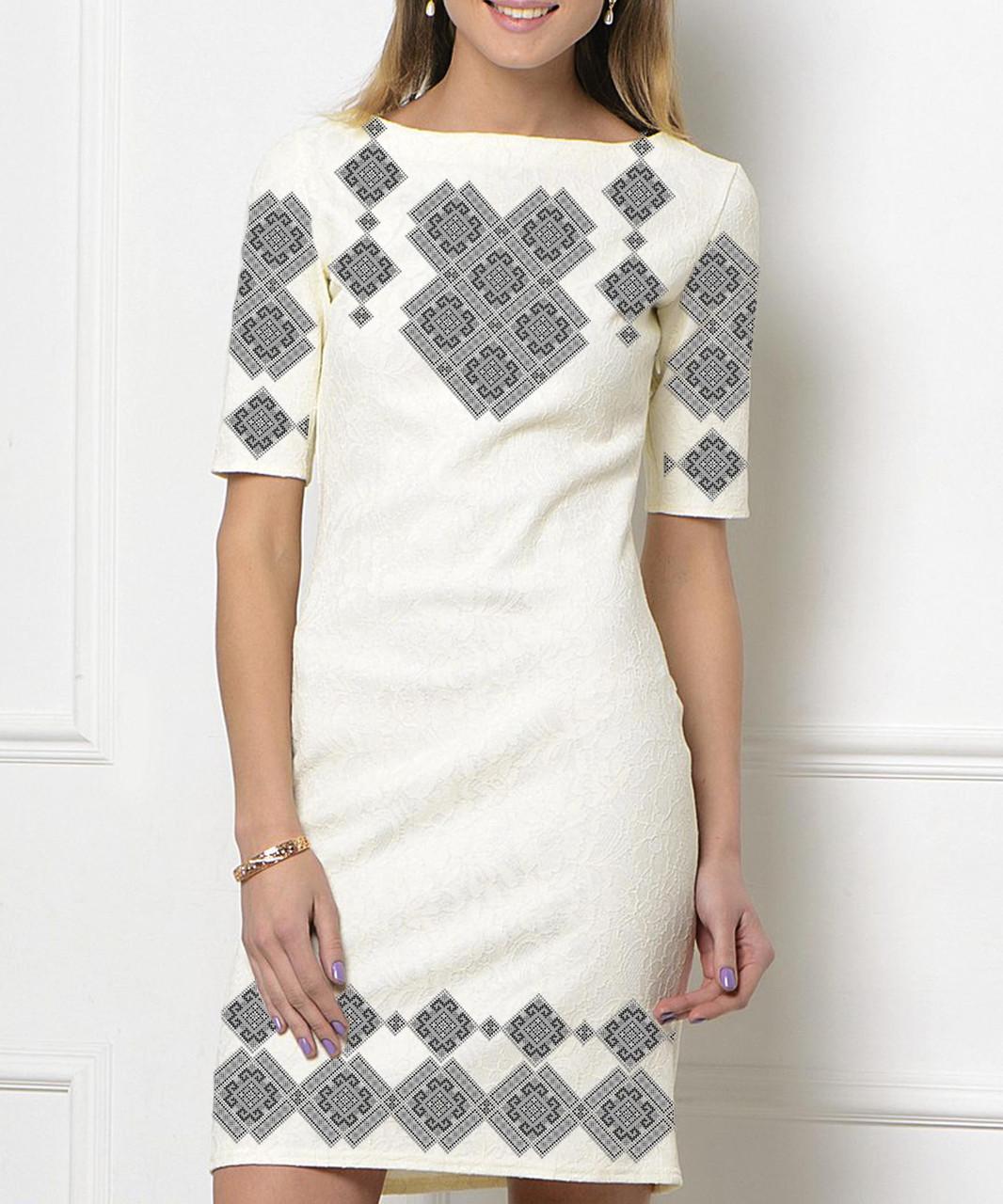 Заготовка женского платья для вышивки / вышивания бисером / ниткой «Сірий орнамент 60 С»