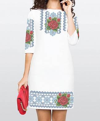 Заготовка женского платья для вышивки / вышивания бисером / ниткой «Троянда в росі в голубому орнаменті»