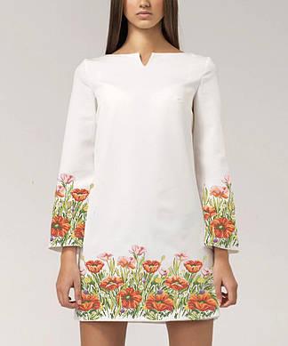 Заготовка женского платья для вышивки / вышивания бисером / ниткой «Поле маків»