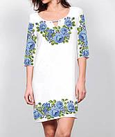 Заготовка женского платья для вышивки / вышивания бисером / ниткой «Голубий квітковий розмай»