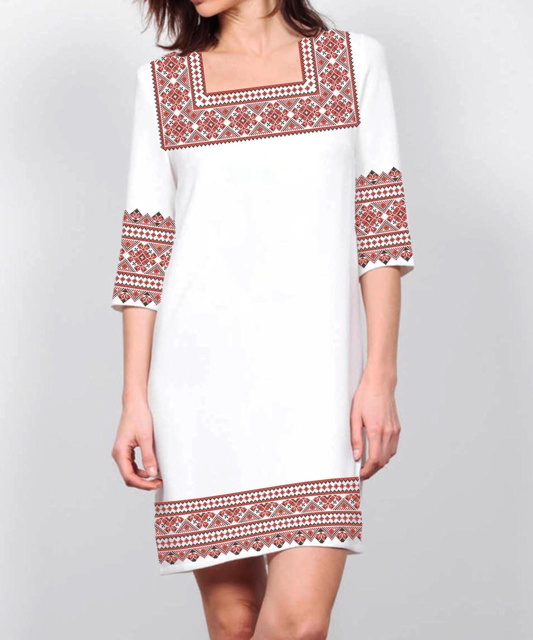 Заготовка женского платья для вышивки / вышивания бисером / ниткой «Червоний орнамент 82»
