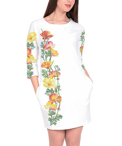 Заготовка женского платья для вышивки / вышивания бисером / ниткой «Маки 87»