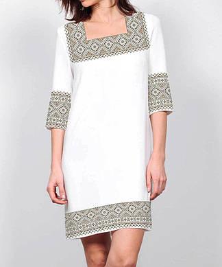 Заготовка женского платья для вышивки / вышивания бисером / ниткой «Коричневий орнамент 72»