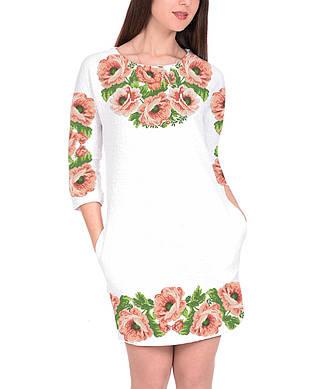 Заготовка женского платья для вышивки / вышивания бисером / ниткой «Рожеві маки»