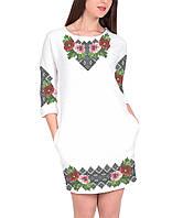 Заготовка женского платья для вышивки / вышивания бисером / ниткой «Мальви в орнаменті 55»