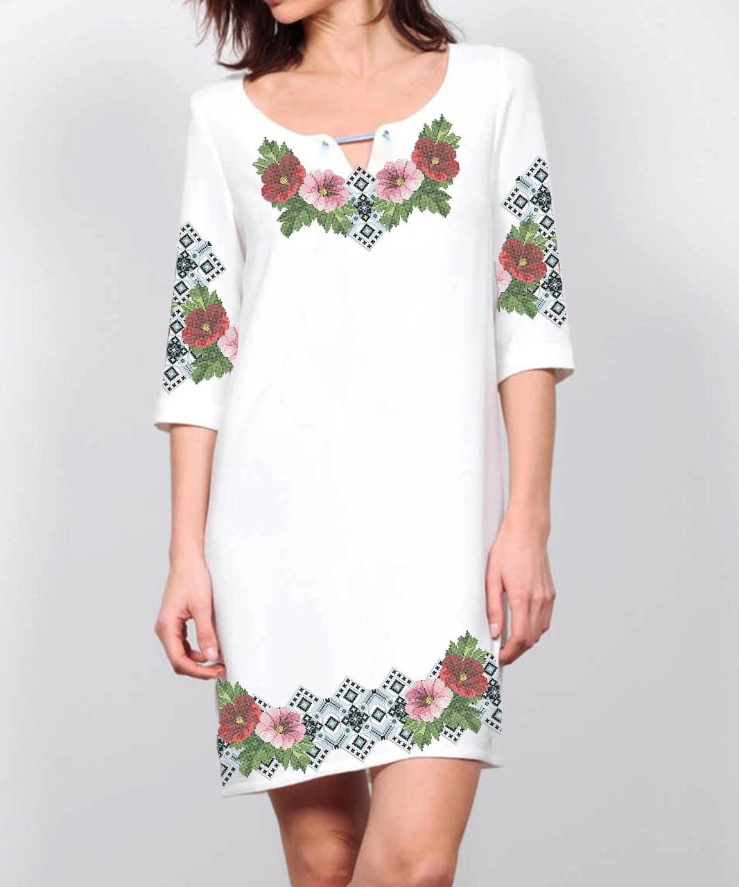 Заготовка женского платья для вышивки / вышивания бисером / ниткой «Мальви в орнаменті»