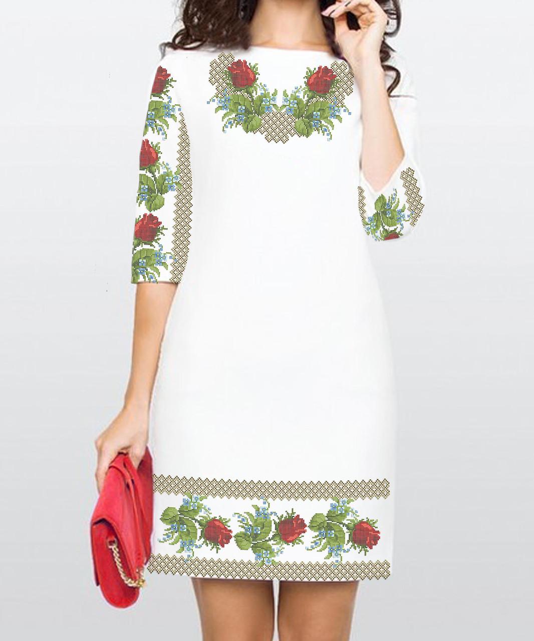 Заготовка женского платья для вышивки / вышивания бисером / ниткой «Рози і незабудки»