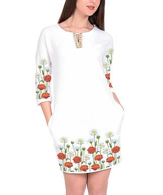 Заготовка женского платья для вышивки / вышивания бисером / ниткой «Маки і ромашки»