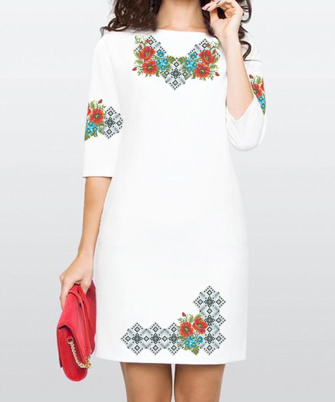 Заготовка женского платья для вышивки / вышивания бисером / ниткой «Чарівні квіти»