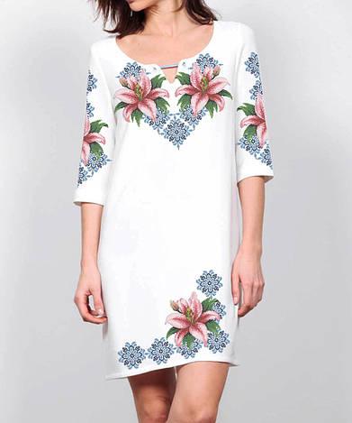 Заготовка женского платья для вышивки / вышивания бисером / ниткой «Лілії в орнаменті»