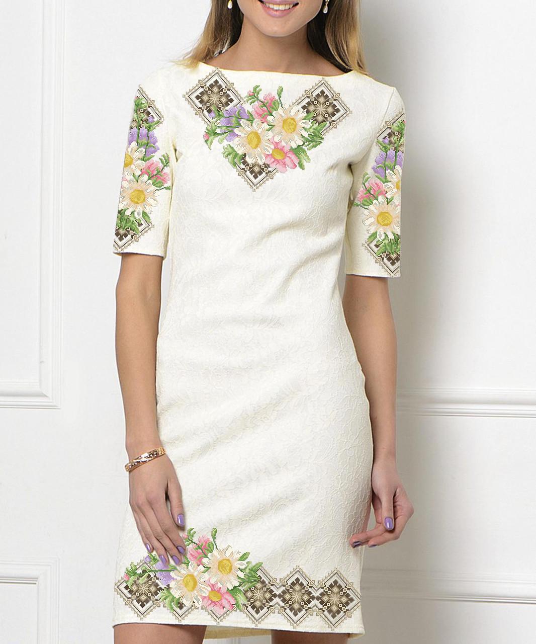 Заготовка женского платья для вышивки / вышивания бисером / ниткой «Ромашки в коричневому орнаменті»