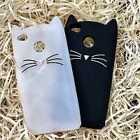 Чехол Кот для Xiaomi Redmi 4Х, Котик белый с блестками