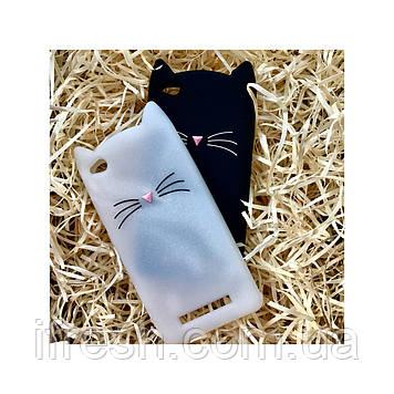 Чехол Кот для Xiaomi Redmi 4А, белый перламутровый