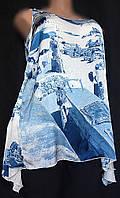 Женская блуза туника из мягкого, тонкого шлка с атласной поверхностью, очень большой размер 54/56, фото 1