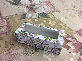 Коробка для макаронс / 140х55х45мм / печать-Весна / окно-обычн / лк / цв