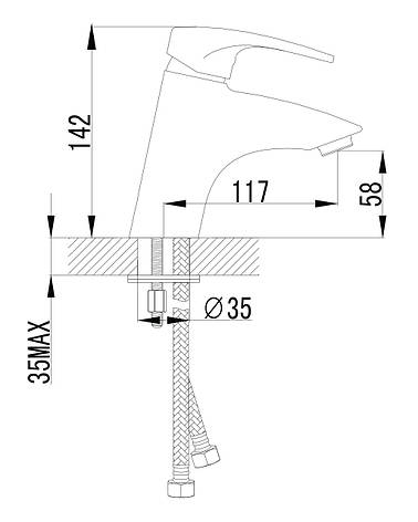JESENIK смеситель для раковины, хром, 35 мм, фото 2