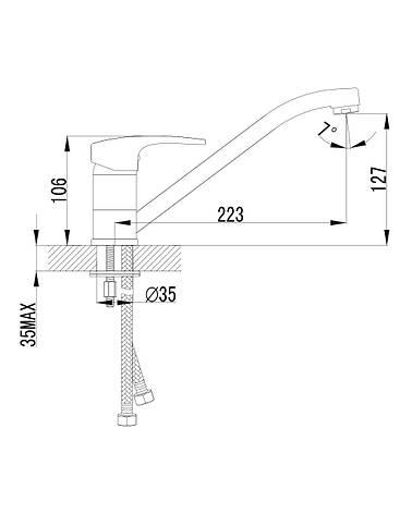 JESENIK  смеситель для кухни, хром, 35 мм, фото 2