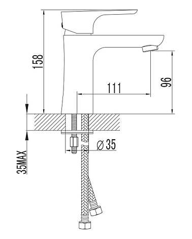 VALTICE смеситель для раковины,хром, 35мм, фото 2
