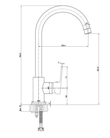 LASKA смеситель для кухни, белый, 35мм, фото 2