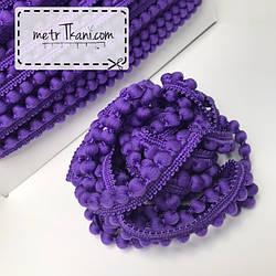 Тесьма с помпонами  цвет фиолетовый d12 мм № п12-8