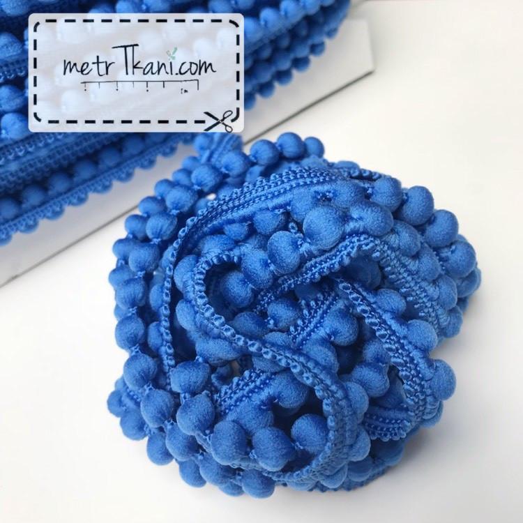 Тесьма с помпонами  ясно-синего цвета d12 мм № п12-9