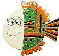 """Сувенир керамический  """"Рыба Солнце"""" большая, керамическое панно рыбы добряка  21,5х21,5 см."""
