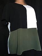 Женская блуза New Look большого размера из фактурного крепшифона, трехцветная, размер 54/58, фото 1