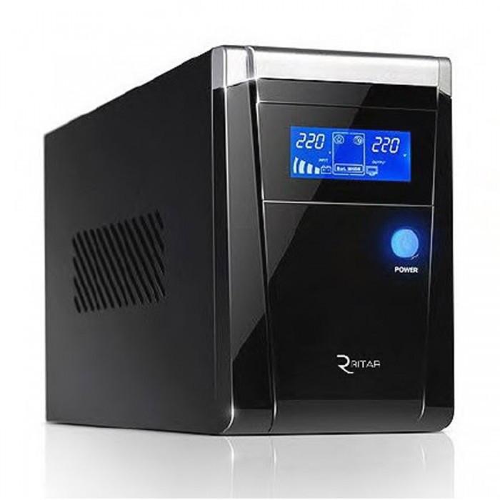 ИБП с правильной синусоидой RITAR RTSW-500 LCD 12В под внешний АКБ Q4 Черный