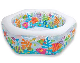 Дитячий надувний басейн Intex 56493 «Океанський Риф» (191*178*61 см)