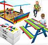 Детская игровая площадка с крышей 150 х 154 см (песочница с крышей + качеля + столик с лавочками)