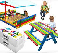Детская игровая площадка с крышей 150 х 154 см (песочница с крышей + качеля + столик с лавочками), фото 1