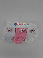 Детские летние носки для девочки, 3 шт. 0-3 мес. (Турция)