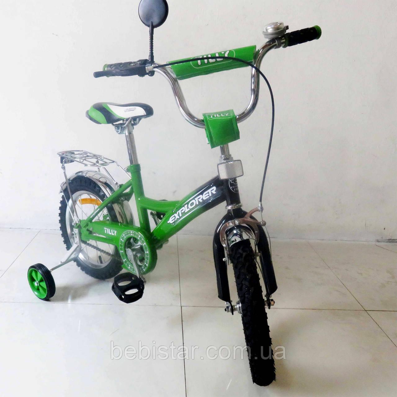 """Двухколесный велосипед  TILLY 14"""" T-21414 детям 3-5 лет цвет зелено-чорный"""