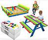 Детская игровая площадка 150 х 154 см, комплект песочница + качеля + столик с лавочками
