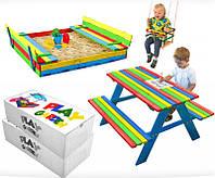 Детская игровая площадка 150 х 154 см, комплект песочница + качеля + столик с лавочками, фото 1
